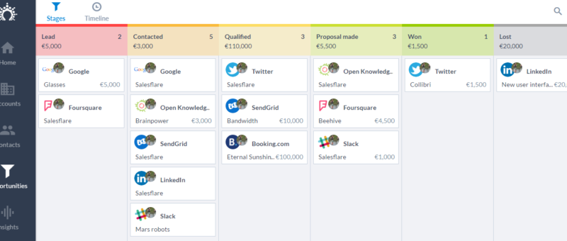 SalesFlare CRM View